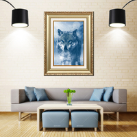 Artcozy Golden Frame Abstract Wolf Waterproof Canvas Painting For Wall Art Home Decoration