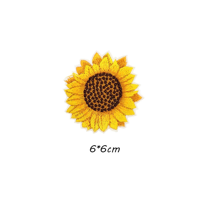 embroidered applique spring patch yellow patch Sew on flower patch,Iron on Sunflower patch