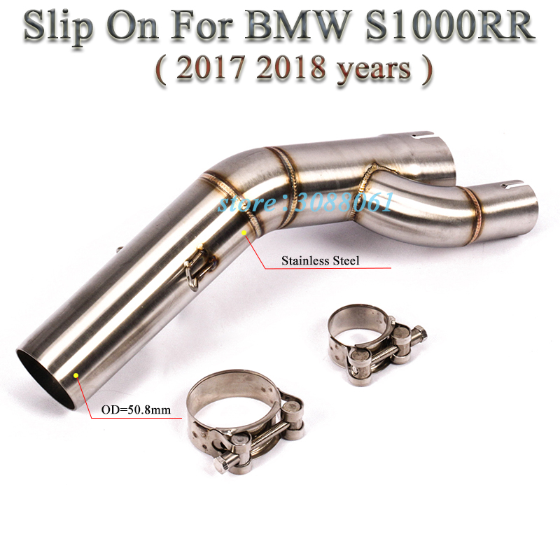 Slip On For BMW <font><b>S1000RR</b></font> <font><b>2017</b></font> <font><b>2018</b></font> Motorcycle <font><b>Exhaust</b></font> System Pipe Escape Without 51mm Muffler Modified Middle Contact Link Pipe image