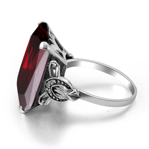 Image 3 - Szjinao Real 925 Sterling Silver Women Ring Garnet Vintage Square Gemstone Autrichien Edward Antique 2020 Jewelry Grosses Bagues