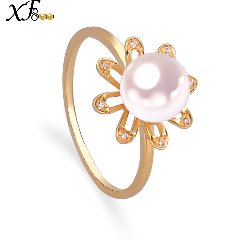 XF800 18K Yellow Gold Rings Fine Jewelry Natural AKOYA Sea Pearl Brand Ring Real AU750 Engagement Gift 6-7MM Round Flower J108 heater heater s desktop household electric heaters indoor heater