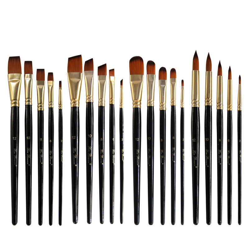 New Five Pcs Set Nylon Hair Brushes Environmental Protection Log Black-wood Rod DIY Brush Set Four Specifications Are Available