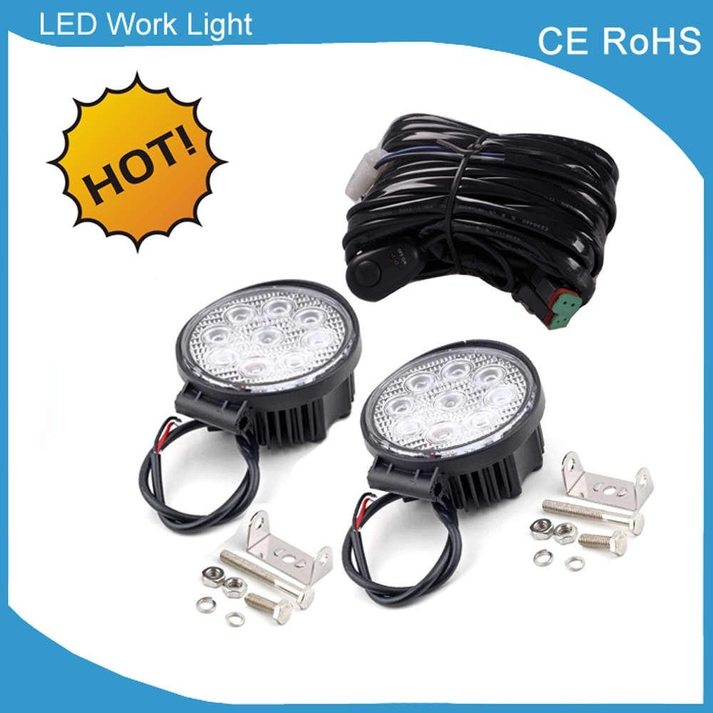 1 Piece Wire Harness 2 Pieces 45 Led Work Lights Offroad Boat Trailer Wiring Straps Automobile Suv Trucks 9 32v Dc Bright 27w Lamp In Light Bar From