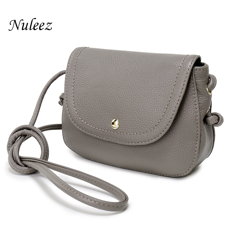 Nuleez Genuine Leather Saddle Bag Real Leather Women Small Bag Summer Sling Bag For Girls Crossbody Messenger Bags Female 2031 grille