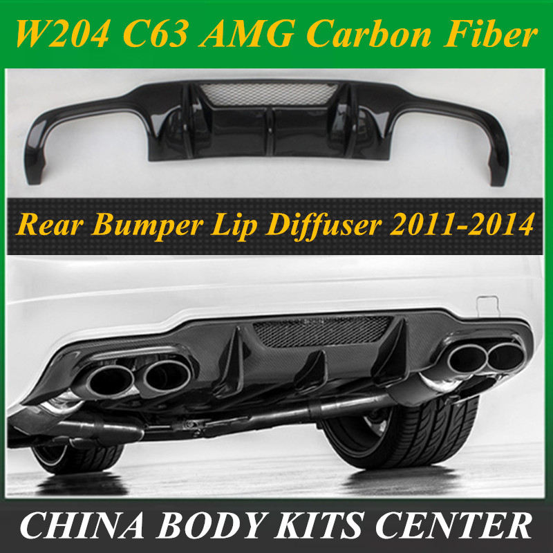 Carbon fiber <font><b>Rear</b></font> Bumper Lip Spoiler <font><b>Diffuser</b></font> Cover For Benz W204 C-Class C63 C180 C200 C260 <font><b>C300</b></font> 2011 2012 2013 2014 image