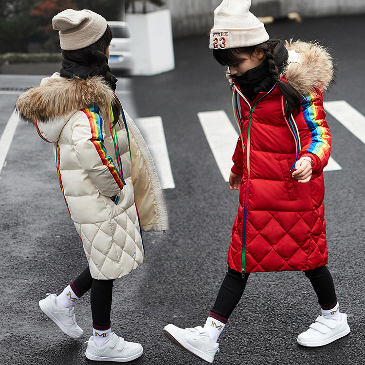 2017 Kids Down Jacket For Girls 90% White Duck Down Coat With Raccoon Fur Children Teenager Winter 4-12 Years Hooded Outerwear