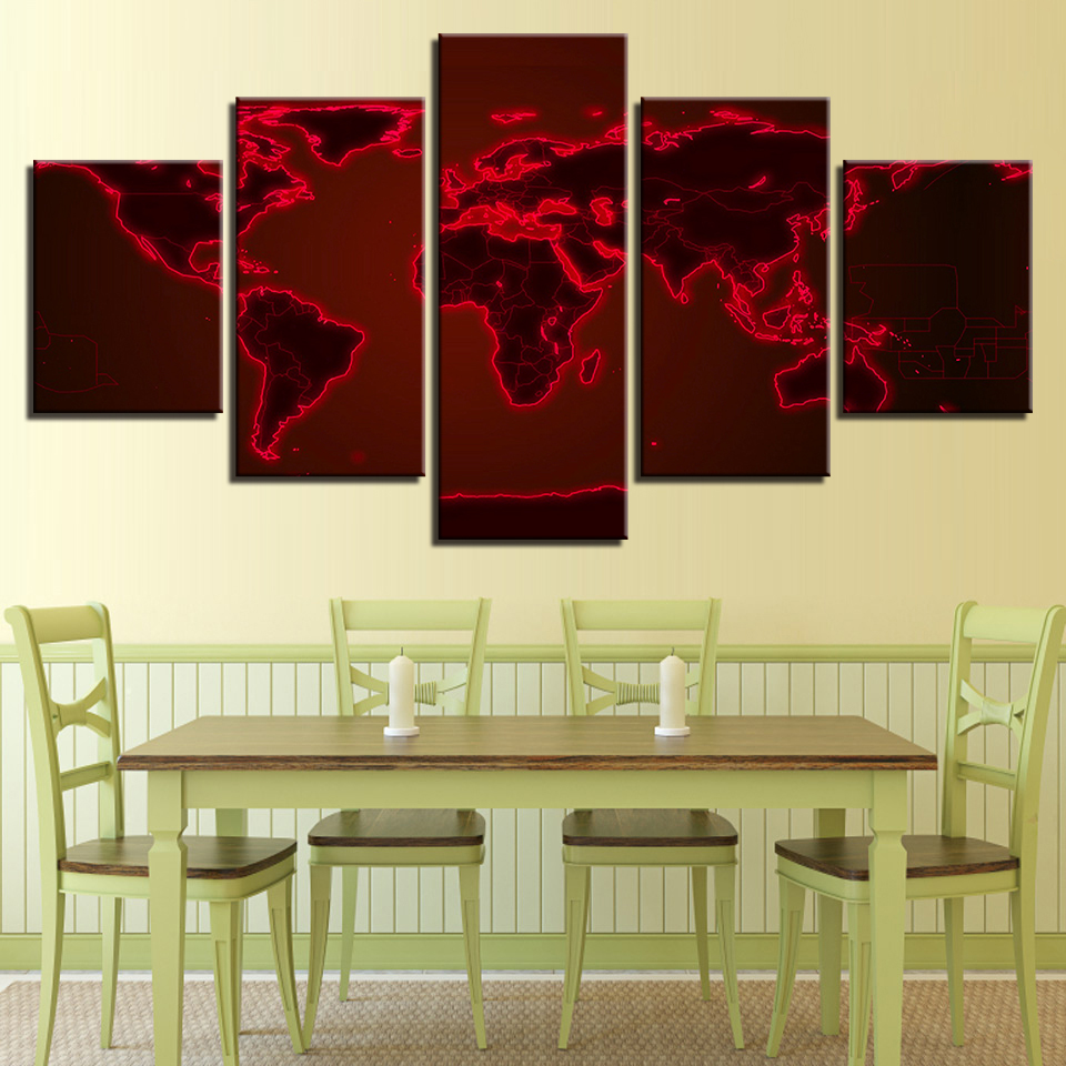 Canvas Wall Art Pictures Hotel Room Framework 5 Pieces Abstract Red ...