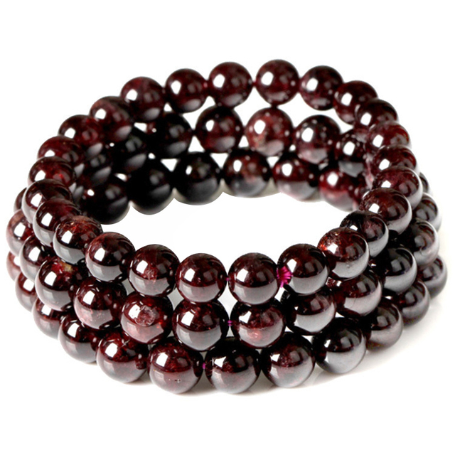 January Birthstone Natural Garnet Bead Bracelet Claret Red Handmade Pulseras Stretch Cord Jewelry Whole