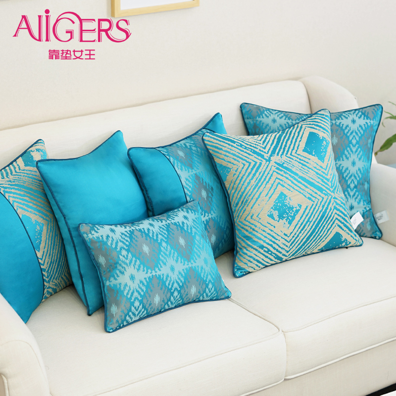 Avigers Luxury Cushion Cover Jacquard Blue Geometry Silky Cotton Pillowcase Modern Style Home Decorative Sofa Chair Throw Pillow