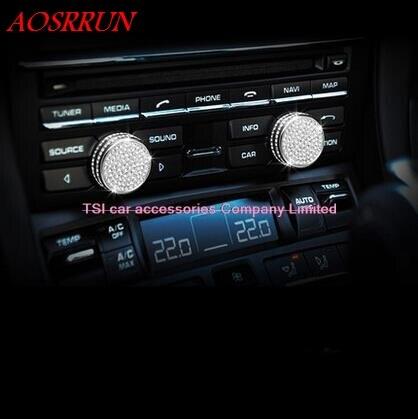 Console Control Knob Cover Trim 3D Sticker For Porsche macan S turbo cayenne Panamera S 911 Boxste car accessories car-styling uni fortunetoys модель автомобиля porsche cayenne turbo