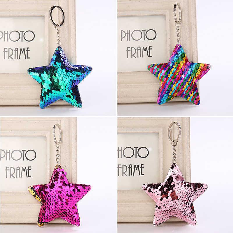 Блестящий Звездный брелок модная русалка блестки животное Bling брелок, цепочка для ключей для женщин мужчин автомобиль сумка кулон ювелирные изделия