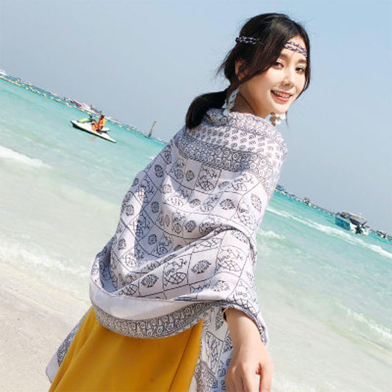 Brilliant Women Large Beach Sun-screen Scarf Retro Printing Tassel Shawl Tippet Random Promote The Production Of Body Fluid And Saliva