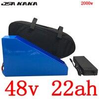 Bateria de lítio 48v 22ah da bicicleta elétrica da bateria 48v 1000 w 1500 w 2000 w bateria 48v 22ah com carregador 54.6 v 5a + saco duty free