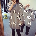 2016 Qualified Fall Winter Exclusive Girl Korean Cute Cartoon Panda Printed Long Sleeve Sweater Fleece Family Clothing Tops G369