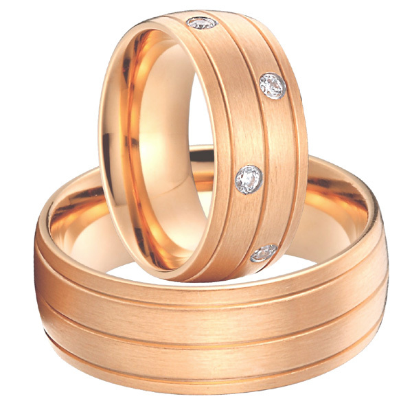 rose gold color alliances anel Custom titanium steel jewelry big wedding promise rings sets for men and women