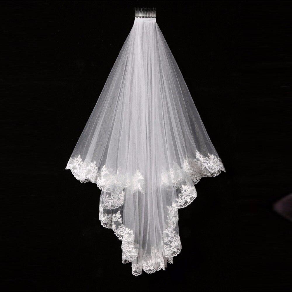 Elegant Cheap White/Ivory Elegant Beauty Two Layers Short Net Tulle Bride Veil 1.5m Long Lace Edge Tulle Veil for Wedding