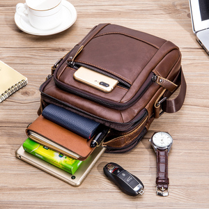 Image 3 - 2019 Men Tote Bags Genuine Leather New Fashion Man Leather Messenger Bag Solid Cross Body Bags Shoulder Business Bags For Men
