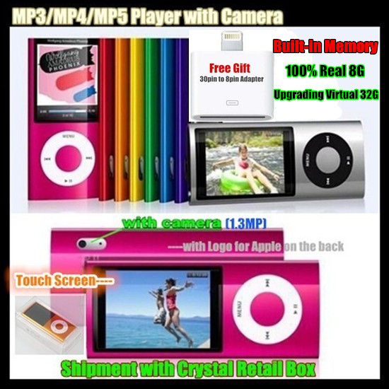 5th Built-in 8GB Memory (Virtual 32G) 2.2″ LCD ScreenSport MP3/MP5 HD Player FM Video+Camera,LOGO for iPod,with Crystal Box