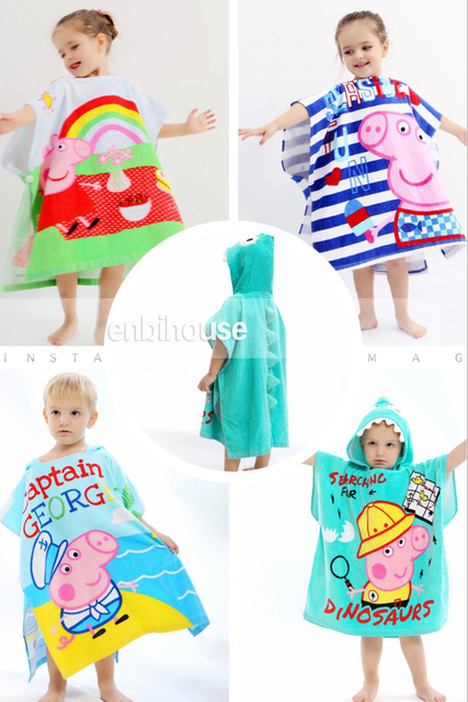 Pig Dino Captain Cartoon Modeling Baby Bathrobe Hooded Kid Bath Towel Cartoon Childrens Beach