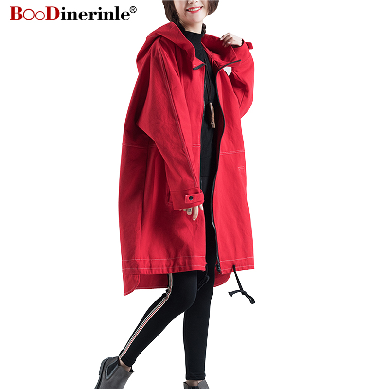 Autumn Women's   Trench   Coat Casual Denim Long Overcoat for Wonem Black Loose Harajuku Pointed Hooded Windbreaker Female JK073