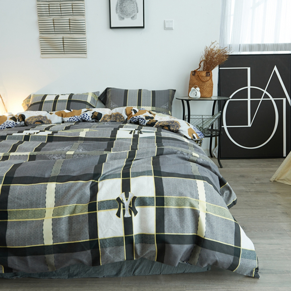 gray modern bedding promotionshop for promotional gray modern  - reversible bed sheets gray and white plaid modern and brief european styletwin queen and king size