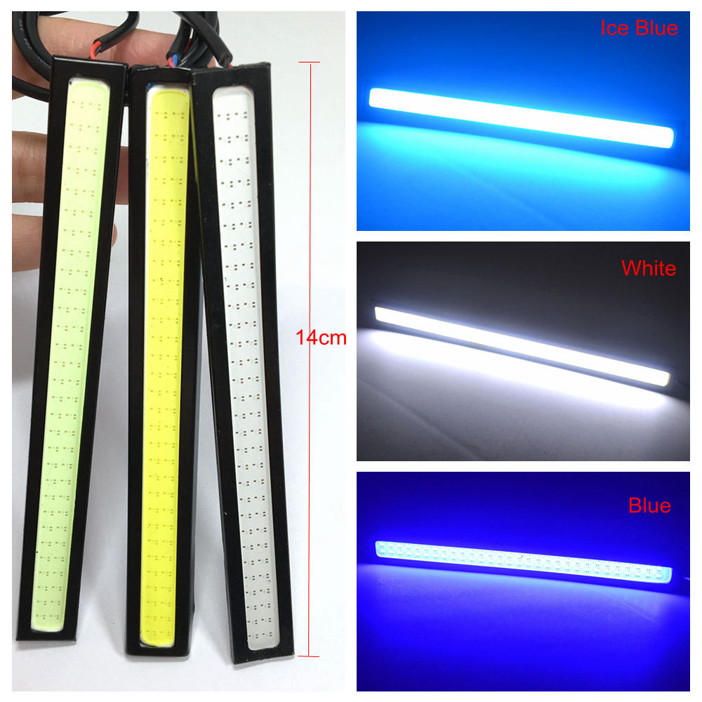 1Pcs 14cm Car LED COB Auto DRL Driving Daytime Running Lamp 60Leds Double Row Bulb Fog Light White Blue Bright Waterproof DC 12V 3157 p27 7w 1200lm led bulb car fog light tail driving lamp drl daytime running reverse 100w 6000k white 3030 20smd 12v 24v 3156