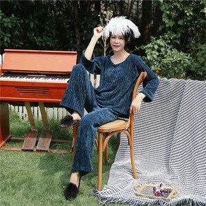 Image 2 - Julys song 여성 겨울 플란넬 잠옷 2 개 세트 따뜻한 파자마 두꺼운 잠옷 여성 캐주얼 홈웨어