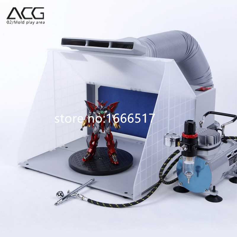 portable hobby airbrush paint spray booth kit exhaust filter extractor set model crafts figurines brand new rh