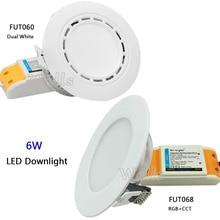 Milight 6W Dual White/RGB+CCT LED Downlight AC86-265V FUT060/FUT068 Led panel light dimmable&FUT092/FUT005 remote