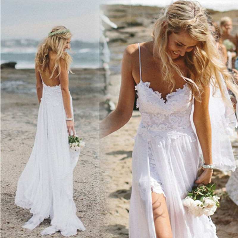 Hot 2015 bohemian beach wedding dress boho sexy backless for Bohemian white wedding dress