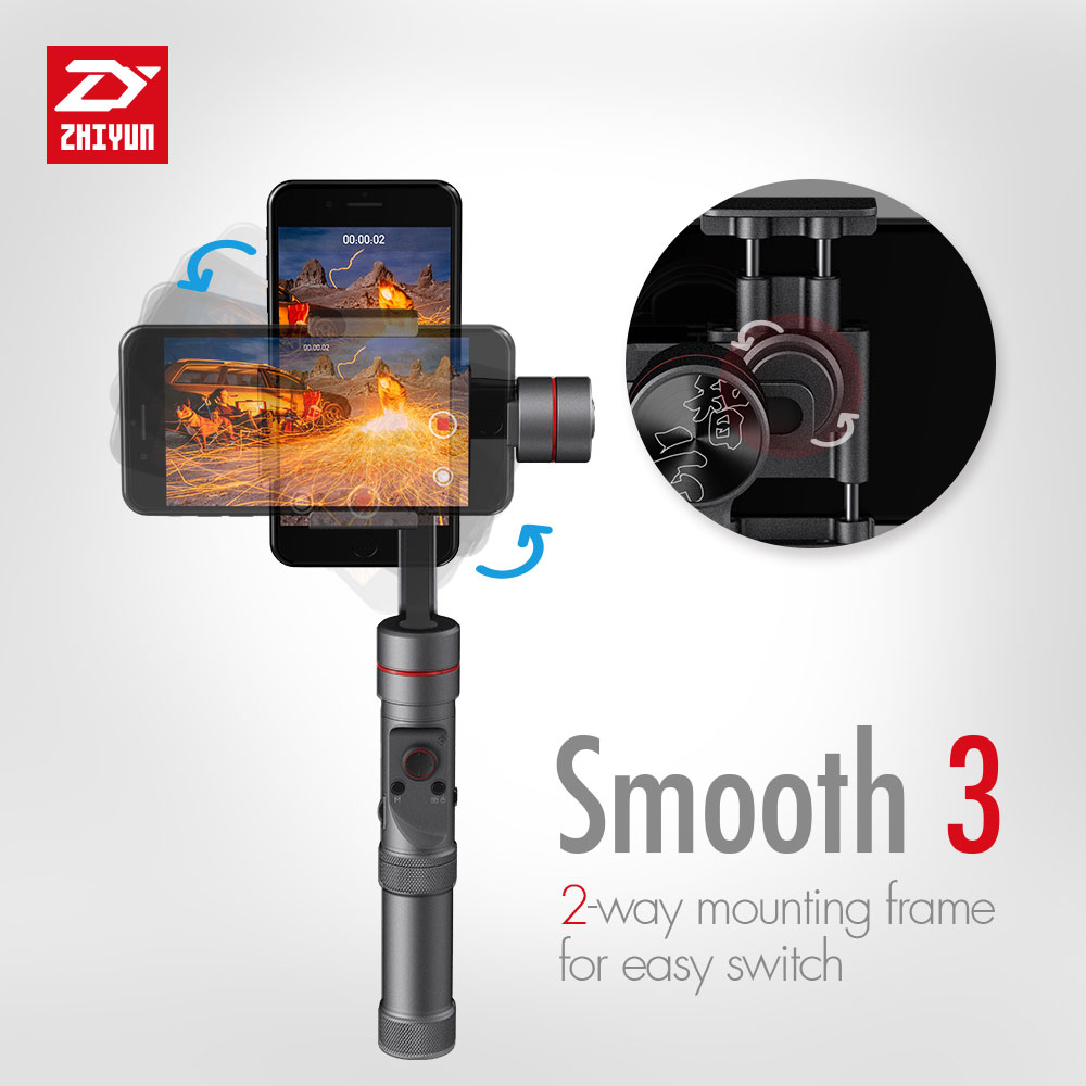 zhi yun Zhiyun Official Smooth 3 3-Axis Handheld Gimbal Stabilizer Camera Mount for Smartphone Gopro3/4/5 zhi yun zhiyun smooth 3 smooth iii 3 axis handheld smartphone gimbal stabilizer for iphone x 8 for samsung for gopro sjcam