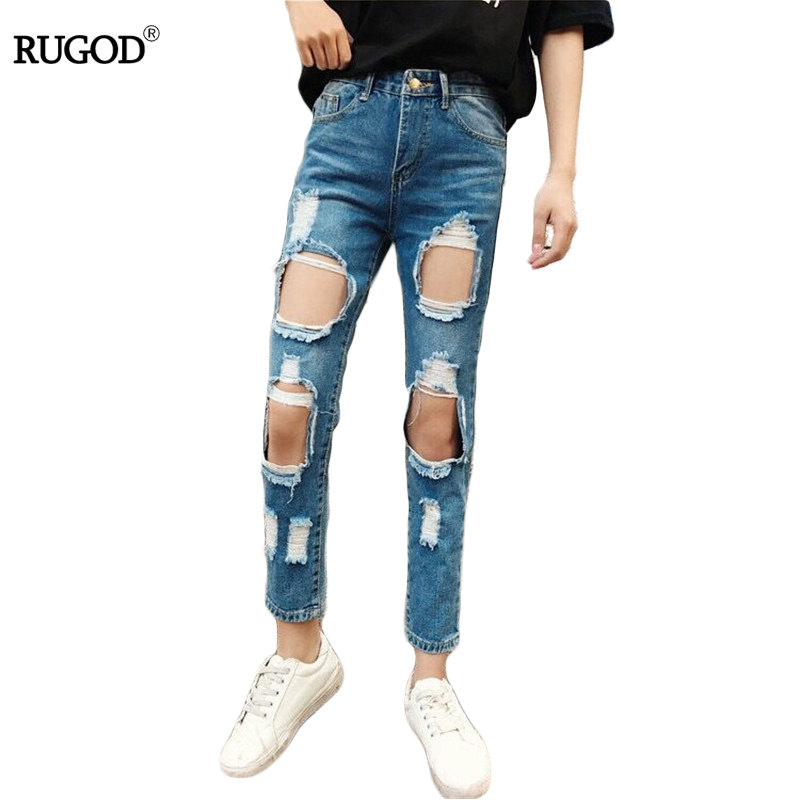 2017New Fashion Style Ankle-Length Pants Denim Loose Harem Hollow Out & Pleated Ripped Vintage Jeans With High Waist For Women women high waist denim harem pants vintage style bleached pants casual ripped hole ankle length loose soft harem jeans
