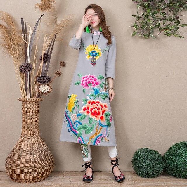 Autumn Winter New Long Paragraph Original Cotton Linen National Wind Retro Embroidered Dress Cheongsam Dress