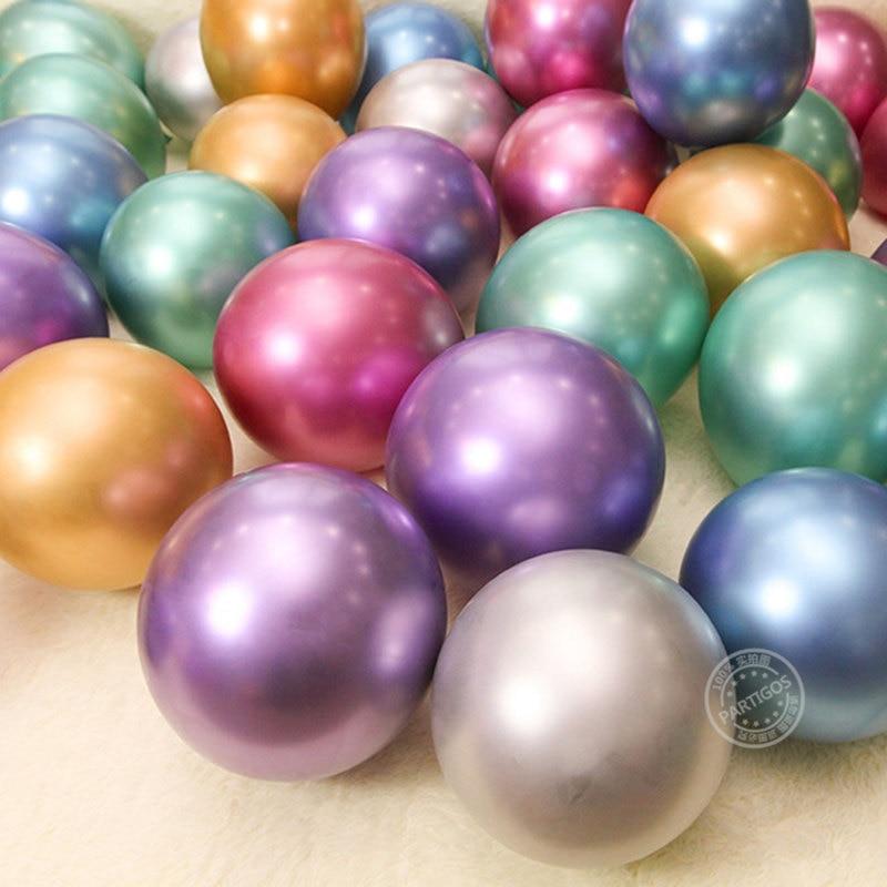 10pcs 5/10inch Chrome Metallic Latex Balloons Shiny Metallic Globos Inflatable Helium Balloon Birthday Party Decoration Ballon