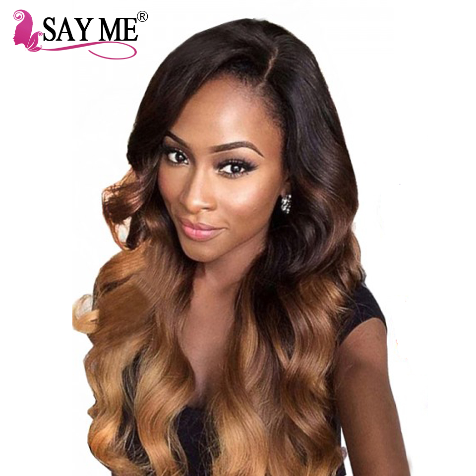 SAY ME Malaysian Body Wave 1b/4/30 Non Remy Can Buy 3 or 4 Bundles Ombre Human Hair Weave Bundles With Lace Frontal Closure