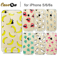 Soft Transparent Fashion Fruit Banana Unicorn Sexy lips Clear Case Cover for iPhone7 Plus 6s 6 5 iPhone hood capinhas capa shell