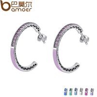 BAMOER Genuine 925 Sterling Silver Radiant Hearts Light Pink Enamel Clear Hoop Earrings For Women Jewelry