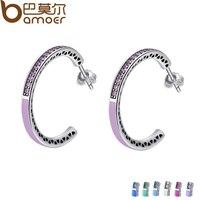 BAMOER Genuine 925 Sterling Silver Radiant Hearts Light Pink Enamel Clear Hoop Earrings For Women Jewelry