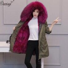Роскошные Для женщин бренд большой истинная природа енота меховой воротник с капюшоном Мех пальто длинные зимние лисы лайнер Армейский зеленый парка куртка 3XL 4XL