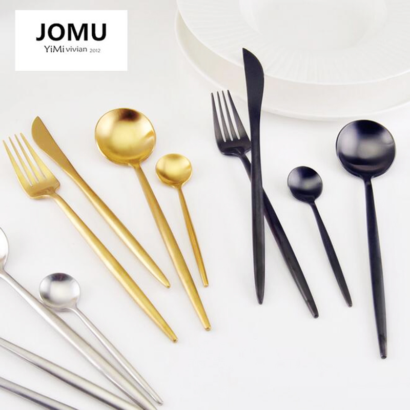 New 2017 Brand <font><b>Dinnerware</b></font> <font><b>Set</b></font> 304 Stainless Steel Cutlery <font><b>Set</b></font> 4 Pieces Black <font><b>Knife</b></font> Fork <font><b>Set</b></font> Tableware Gold Cutleries G320