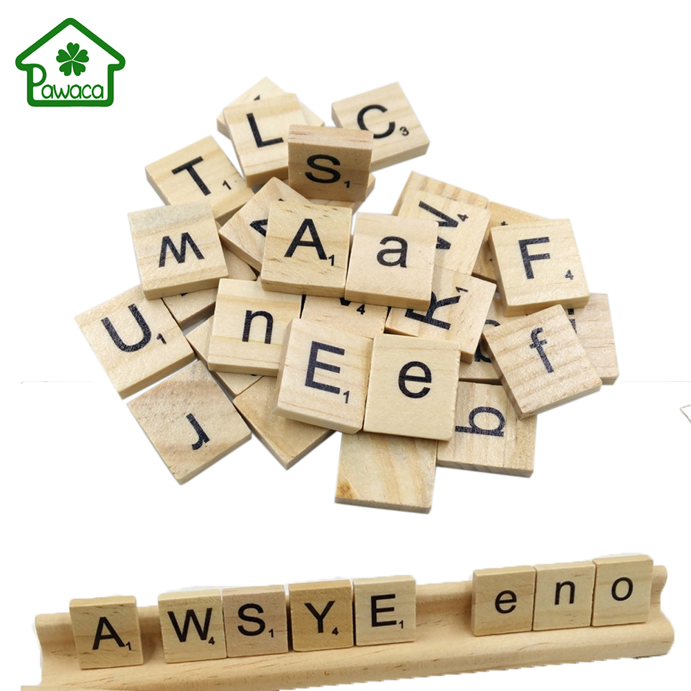 Child craft wooden blocks - 100pcs Lot Wood Wooden English Letters Numbers Block Diy Alphabet Scrabbles Miniatures Crafts For Kids