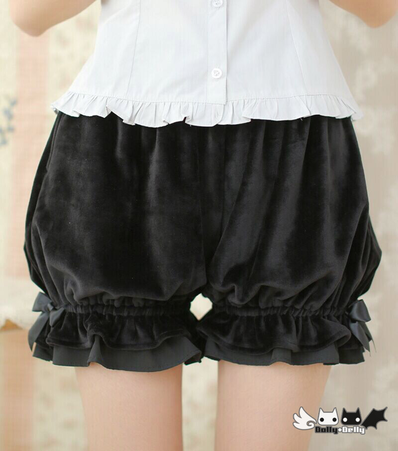Fashion Lolita Shorts Winter Corduroy Bloomers Pantalooms