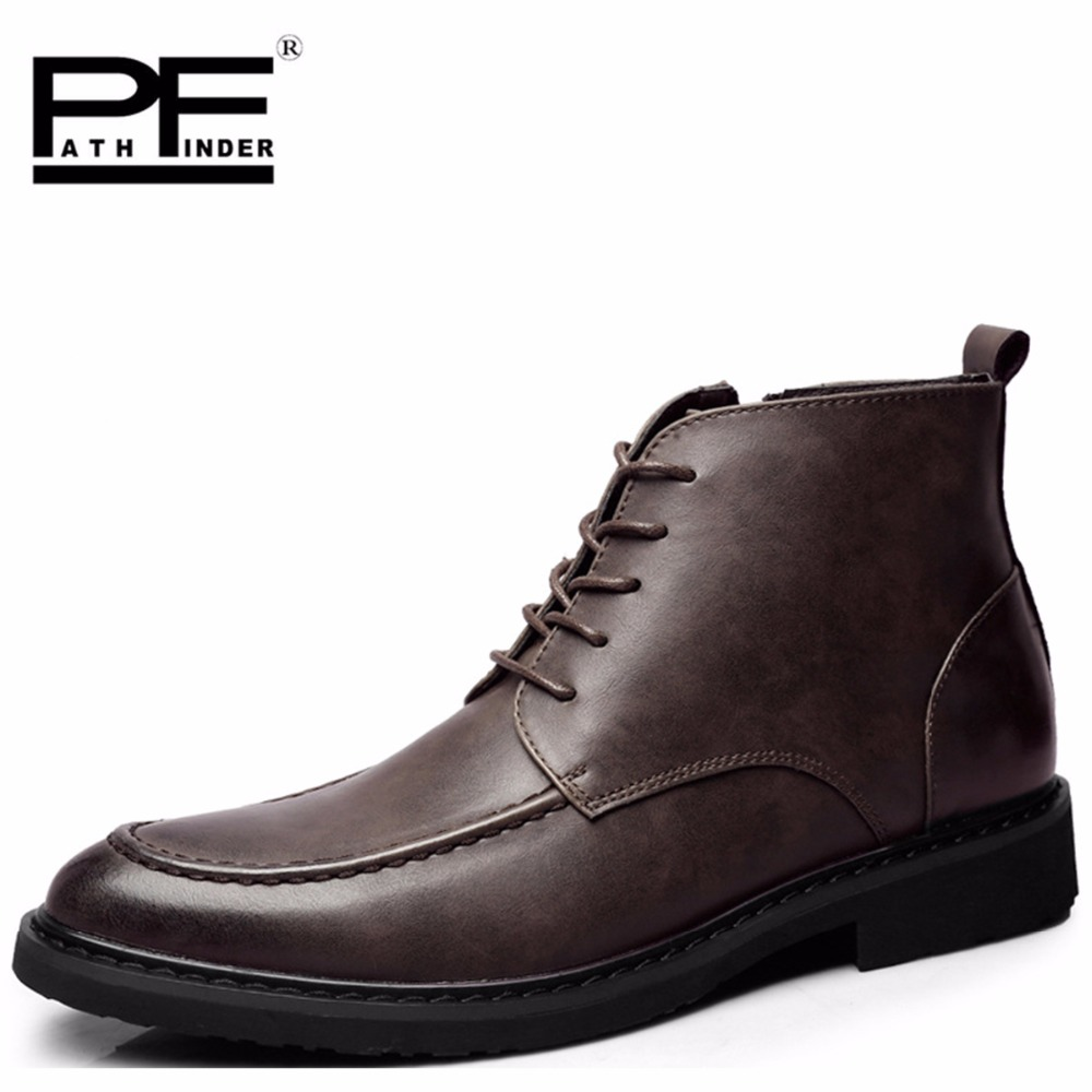 New Pathfinder Spring Ankle Boots Men British Top Brand Mens Leather Winter Dress Shoes Side Zipper Short Boots for Men the new winter men leather boots for men and martin england zipper tooling boots british retro men shoes breathable casual shoes
