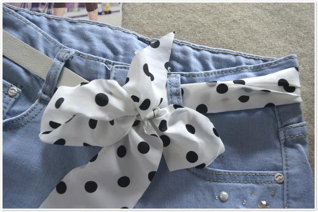 2017 Spring Summer New Popular Ladies Denim Shorts With Attractive Bow Belt