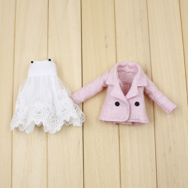 For icy Blyth Doll jecci five bjd neo 1/6 30cm white dress suit pink coat 1pair shoessuitable for 1 6 doll normal doll joint doll bjd blyth icy jecci five licca body for 30cm doll shoes