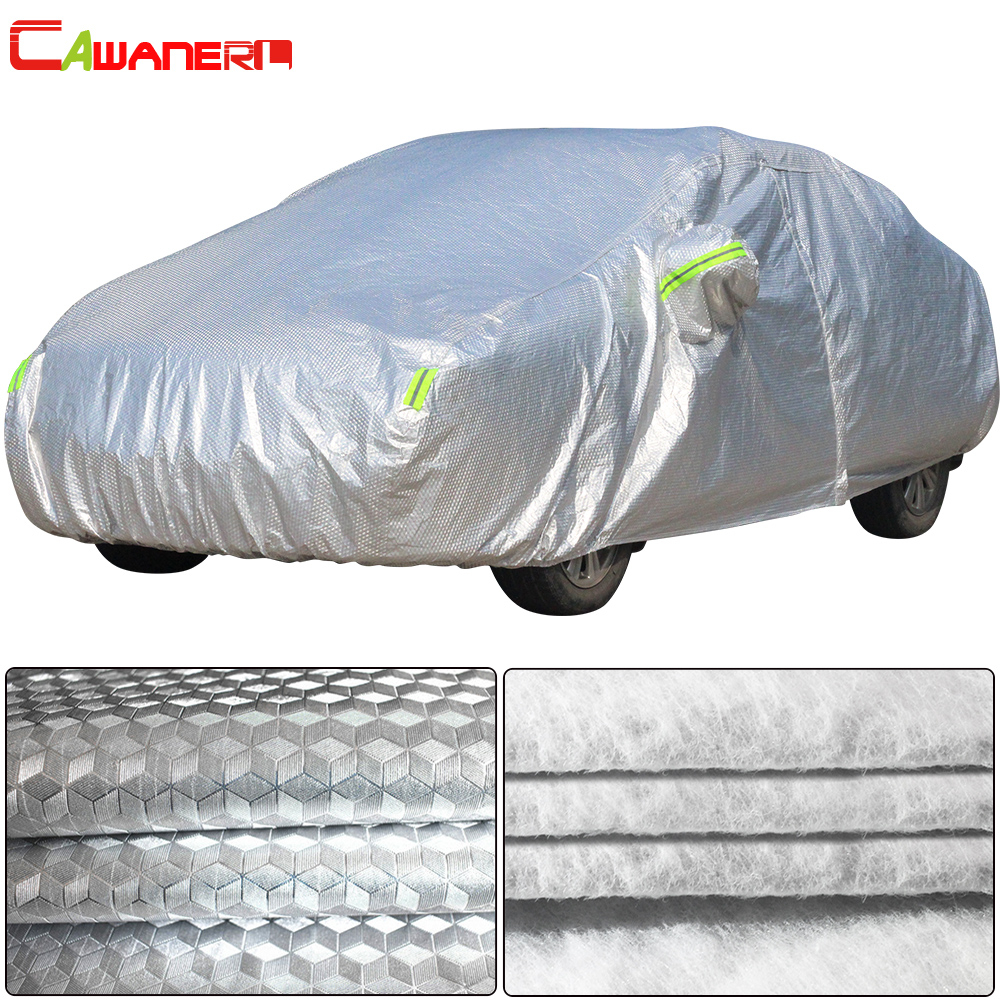Cawanerl Thicken Car Cover Aluminum Foil PP Cotton Waterproof Anti UV Sun Rain Hail Snow Resistant Dust Proof Full Cover For Car 1 pair car horn dust proof cover speaker decorative circle