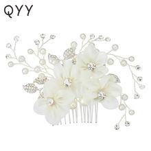 Qyy цвета слоновой кости белые марлевые свадебные гребни для