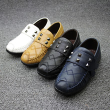 2016 New  Autumn Kids boys genuine leather shoes Soft Sole Children Boy Shoes Flats Black Blue Brown Casual Loafers For Boys