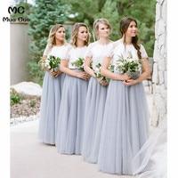 2018 Двойка платье Свадебная вечеринка платье подружки невесты длинные с кружевной аппликацией Тюль короткий рукав Для женщин платье подруж