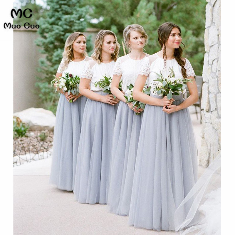 2018 Two Pieces Gown Wedding Party Dress Bridesmaid Dress Long With Lace Appliques Tulle Short Sleeve Women Bridesmaid Dresses